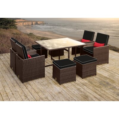 Stella II Patio Rattan 9 Piece Dining Set with Cushions and Rectangular Toss Pillows Cushion Color: Black/White