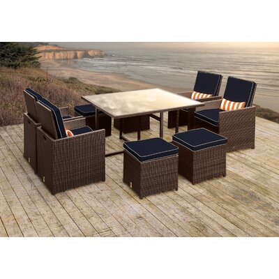 Stella II Patio Rattan 9 Piece Dining Set with Cushions and Rectangular Toss Pillows Cushion Color: Navy/Cream