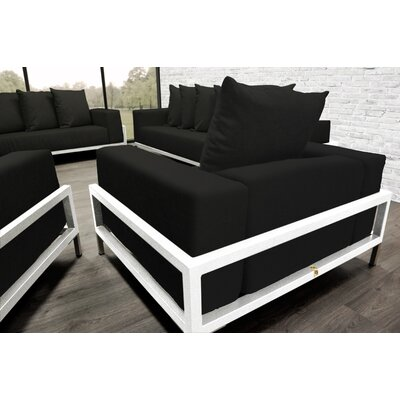 Tilly Patio 4 Piece Lounge Seating Group With Cushions Accent Pillow Fabric: Black, Fabric: Black