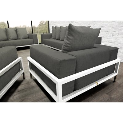 Tilly Patio 4 Piece Lounge Seating Group With Cushions Fabric: Dark Oyster, Accent Pillow Fabric: Oyster/White