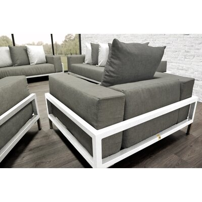 Tilly Patio 4 Piece Lounge Seating Group With Cushions Accent Pillow Fabric: Dark Oyster/White, Fabric: Oyster