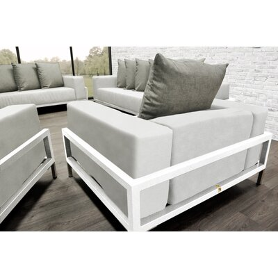 Tilly Patio 4 Piece Lounge Seating Group With Cushions Accent Pillow Fabric: Oyster/White, Fabric: White