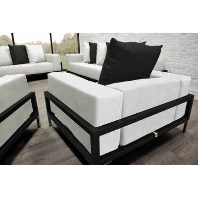 Tilly 4 Piece Deep Sofa Seating Group with White Cushions Accent Pillow Fabric: Black/White