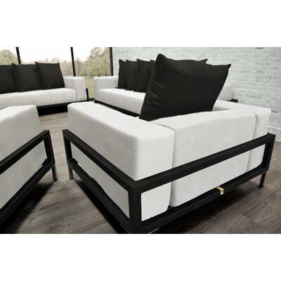 Tilly 4 Piece Deep Sofa Seating Group with White Cushions Accent Pillow Fabric: Black