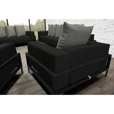 Tilly 4 Piece Deep Sofa Seating Group with Black Cushions Accent Pillow Fabric: Dark Oyster