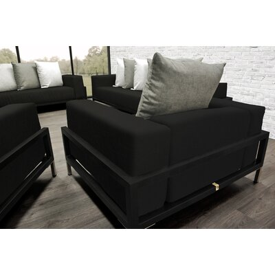 Tilly 4 Piece Deep Sofa Seating Group with Black Cushions Accent Pillow Fabric: Oyster/White/Black