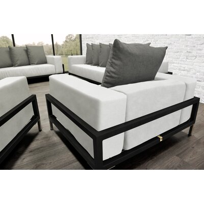 Tilly 4 Piece Deep Sofa Seating Group with White Cushions Accent Pillow Fabric: Dark Oyster