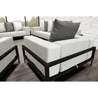 Tilly 4 Piece Deep Sofa Seating Group with White Cushions Accent Pillow Fabric: Dark Oyster/White