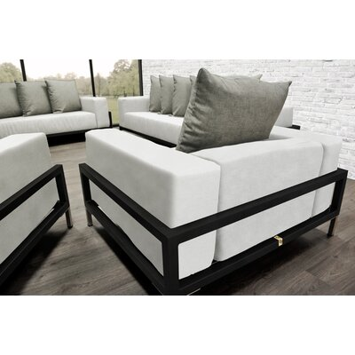 Tilly 4 Piece Deep Sofa Seating Group with White Cushions Accent Pillow Fabric: Oyster