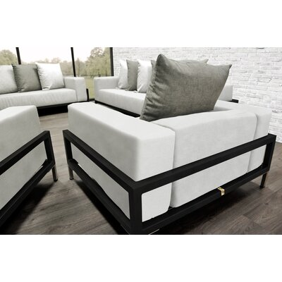 Tilly 4 Piece Deep Sofa Seating Group with White Cushions Accent Pillow Fabric: Oyster/White