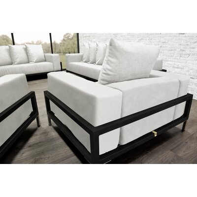 Nubis 4 Piece Deep Sofa Seating Group with Cushions Accent Pillow Fabric: White
