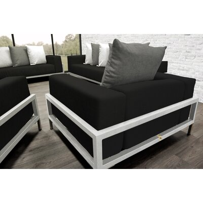 Tilly 4 Piece Deep Sofa Seating Group with Cushions Accent Pillow Fabric: Dark Oyster/White