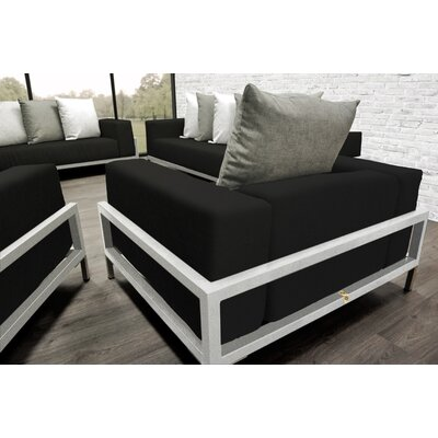 Tilly 4 Piece Deep Sofa Seating Group with Cushions Accent Pillow Fabric: Oyster/White