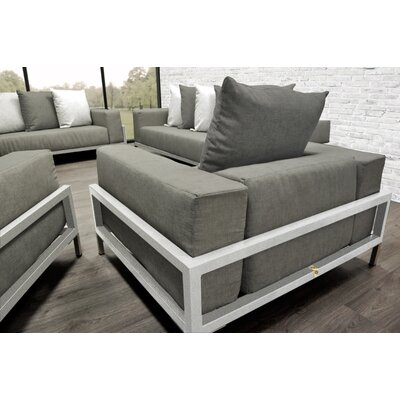 Tilly 4 Piece Deep Sofa Seating Group with Oyster Cushions Accent Pillow Fabric: Dark Oyster/White