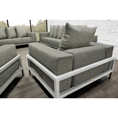 Tilly 4 Piece Deep Sofa Seating Group with Oyster Cushions Accent Pillow Fabric: Oyster