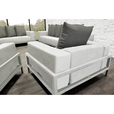Tilly Modern 4 Piece Deep Sofa Seating Group with Cushions Accent Pillow Fabric: Dark Oyster