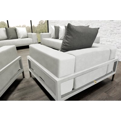 Tilly Modern 4 Piece Deep Sofa Seating Group with Cushions Accent Pillow Fabric: Dark Oyster/White