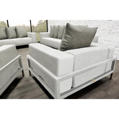 Tilly Modern 4 Piece Deep Sofa Seating Group with Cushions Accent Pillow Fabric: Oyster