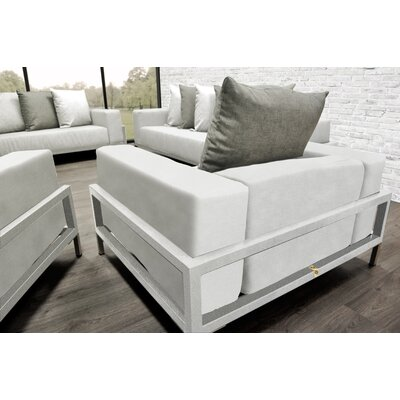 Tilly Modern 4 Piece Deep Sofa Seating Group with Cushions Accent Pillow Fabric: Oyster/White