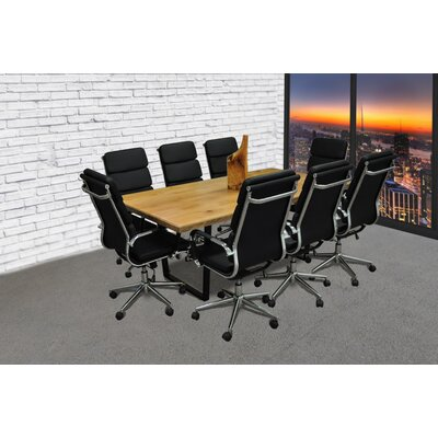 Rectangular 30H x 42W x 77L Conference Table Set Finish: Black