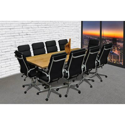Rectangular 30H x 42W x 96L Conference Table Set Color: Black