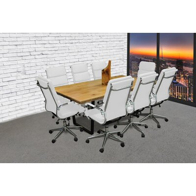Rectangular 30H x 42W x 77L Conference Table Set Color: White