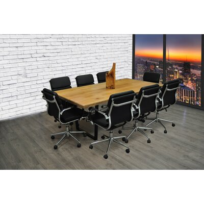 Rectangular 30H x 42W x 77L Conference Table Set Color: Black