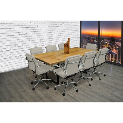 Rectangular 30H x 42W x 77L Conference Table Set Finish: Gray