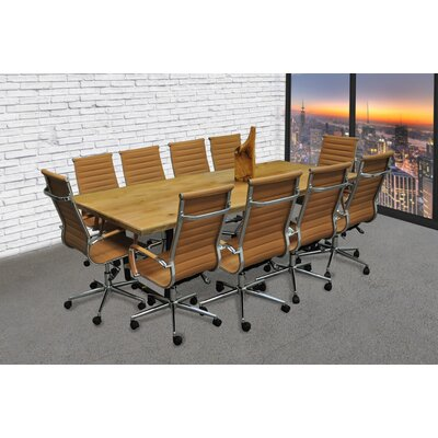 Contemporary 11 Piece 8 Rectangular Conference Table Set Finish: Camel