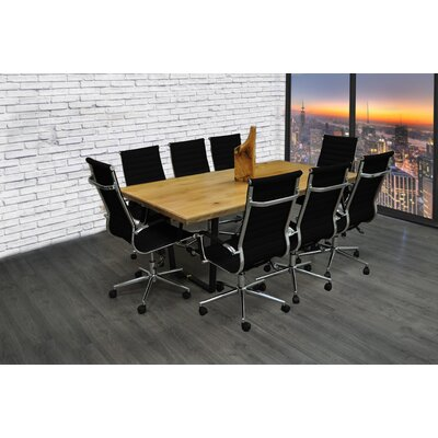 Contemporary 9 Piece 6.4 Rectangular Conference Table Set Finish: Black