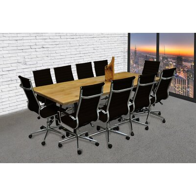 Contemporary 11 Piece 8 Rectangular Conference Table Set Finish: Black