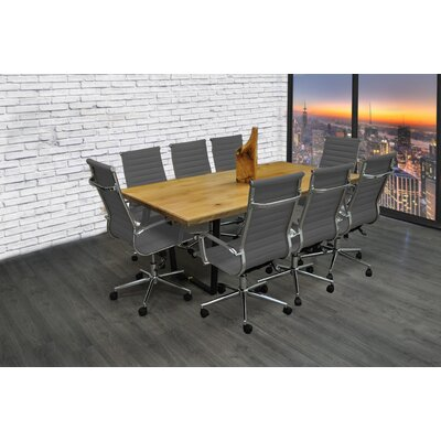 Contemporary Rectangular 30H x 42W x 77L Conference Table Set Finish: Gray