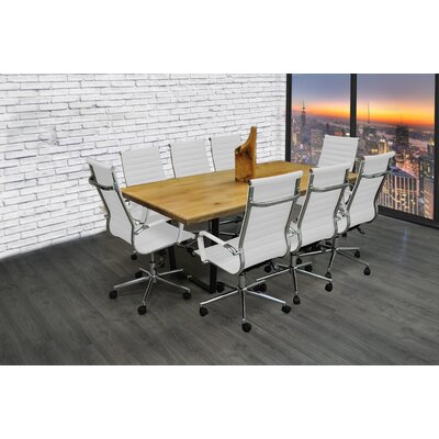 Contemporary Rectangular 30H x 42W x 77L Conference Table Set Finish: White