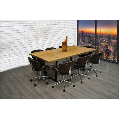 9 Piece 6.4 Rectangular Metal Base Conference Table Set Finish: Black