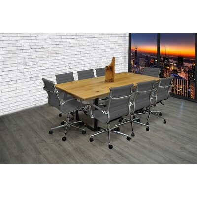 9 Piece 6.4 Rectangular Conference Table Set Finish: Gray