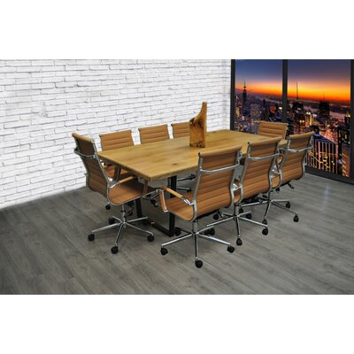 9 Piece 6.4 Rectangular Conference Table Set Finish: Camel