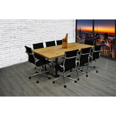 9 Piece 6.4 Rectangular Conference Table Set Finish: Black