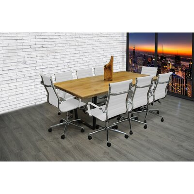 9 Piece 6.4 Rectangular Conference Table Set Finish: White