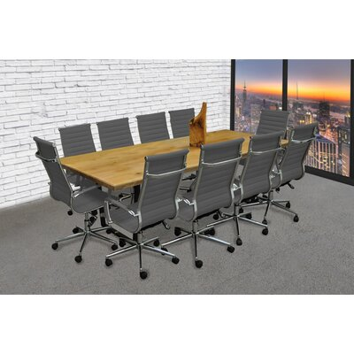 Contemporary 11 Piece 8 Rectangular Conference Table Set Finish: Gray