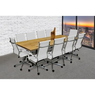 Contemporary 11 Piece 8 Rectangular Conference Table Set Finish: White