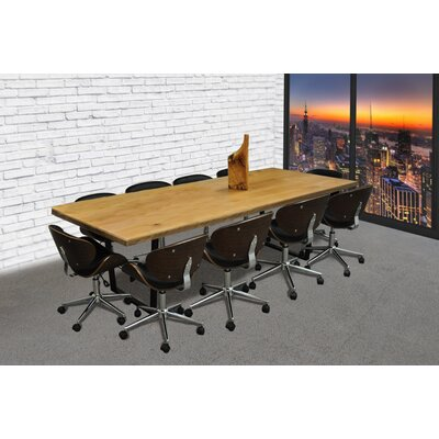 11 Piece 8 Rectangular Metal Base Conference Table Set Finish: Black