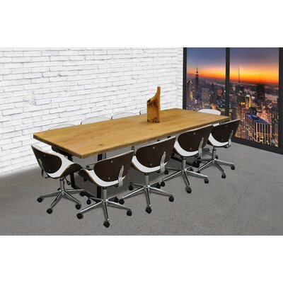 11 Piece 8 Rectangular Metal Base Conference Table Set Finish: White