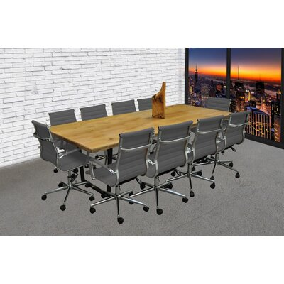 11 Piece 8 Rectangular Conference Table Set Finish: Gray