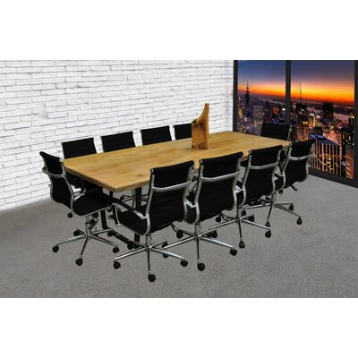 11 Piece 8 Rectangular Conference Table Set Finish: Camel