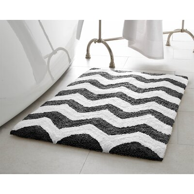 Zigzag 2 Piece Plush Bath Mat Set Color: Gunmetal