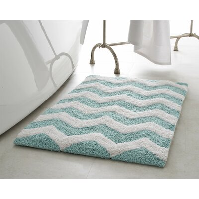 Zigzag 2 Piece Plush Bath Mat Set Color: Aquatic Blue