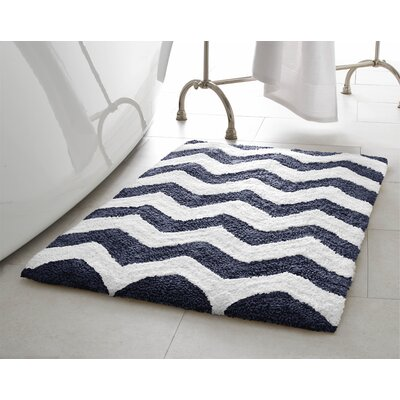 Zigzag 2 Piece Plush Bath Mat Set Color: Denim Blue