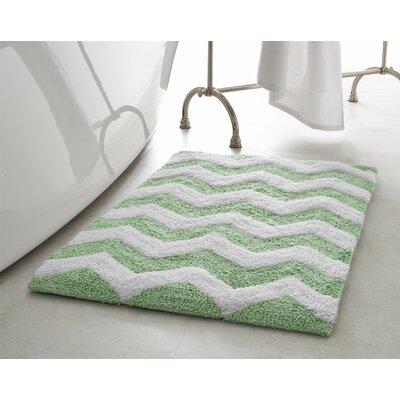 Zigzag 2 Piece Plush Bath Mat Set Color: Mint