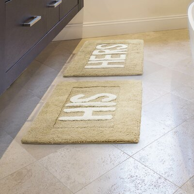 His and Hers Cotton 2 Piece Bath Rug Set Color: Linen