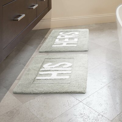 His and Hers Cotton 2 Piece Bath Rug Set Color: Light Grey